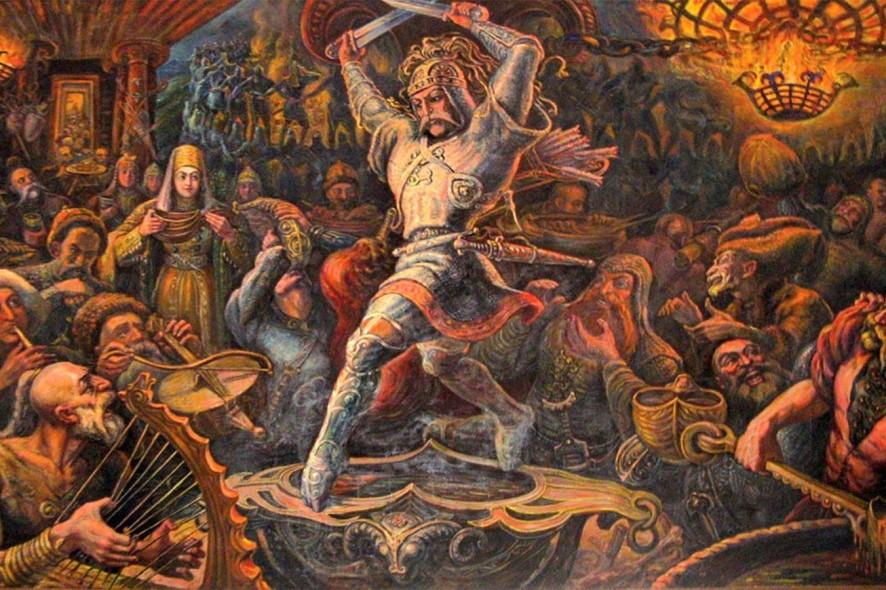 """Туганов М. С. """"Пир нартов"""" (1947 г.). Центром священодействия выступает танец мистерия солнцеликого нарта Сослана, на краях сакральной, указующей  Чаши Уацамонга"""