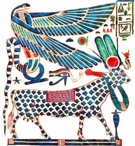 Древнеегипетская фреска - священный бык и крылатая змея
