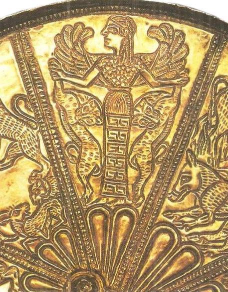 Скифская богиня с  келермесского зеркала, владеющая мощными жизненными энергиями