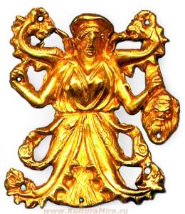 Скифская богиня Апи. Из плеч богини прорастают две змеи - жизненные энергии