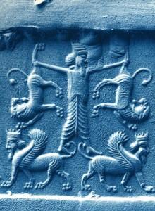 Шумерская цилиндрическая печать. Сцена победы Гильгамеша над двумя львами, символизирующая контроль над жизненными энергиями